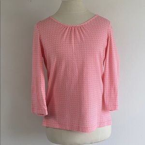! 5/$25 ! Lands End coral print stretch knit top